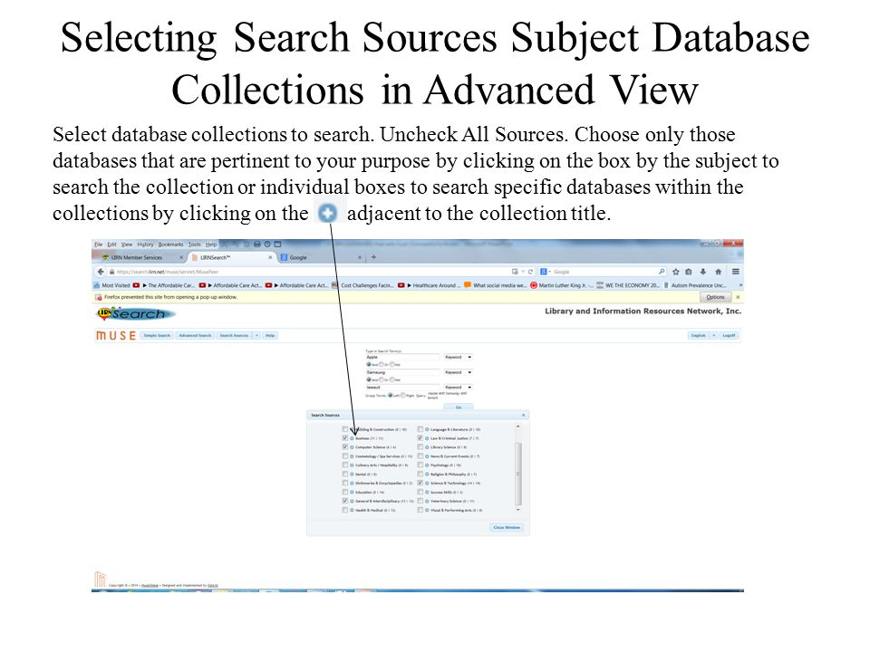 Selecting Search Sources Subject Database Collections in Advanced View
