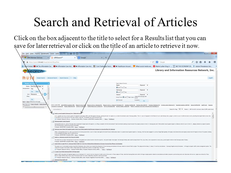 Search and Retrieval of Articles