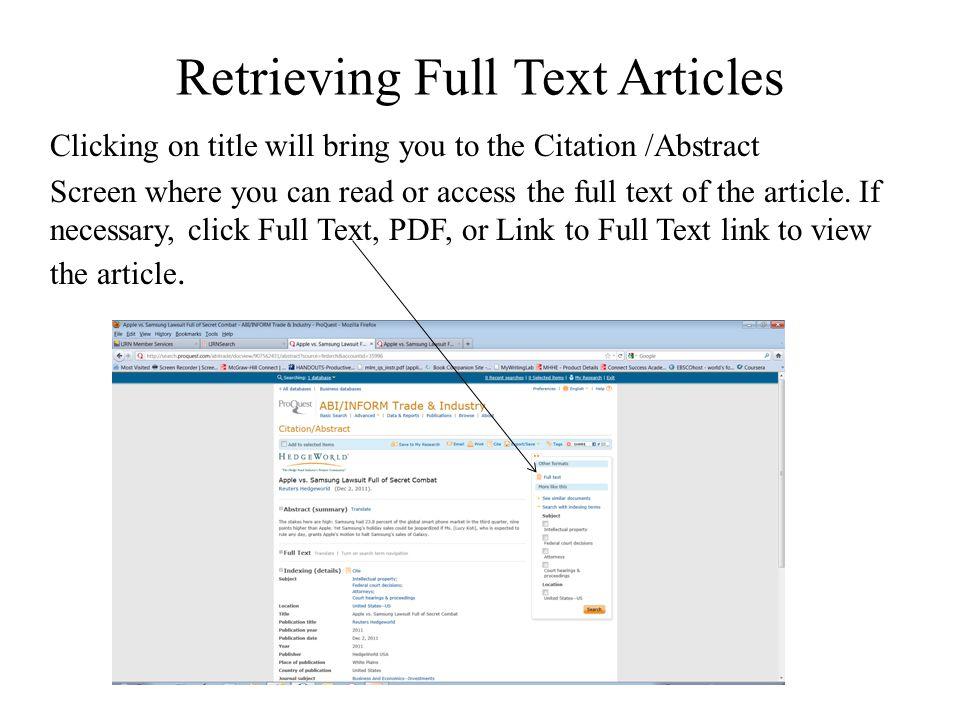 Retrieving Full Text Articles