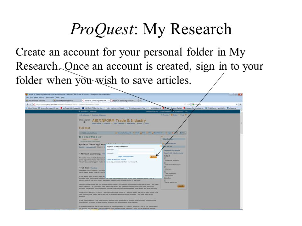 ProQuest: My Research