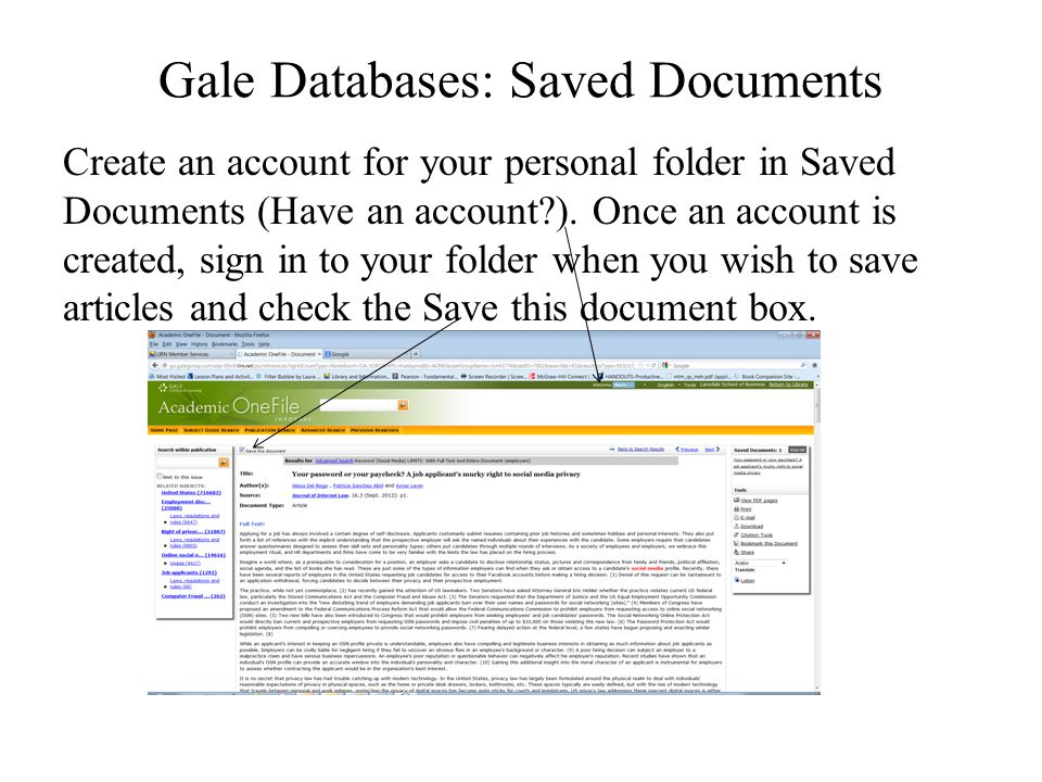 Gale Databases: Saved Documents