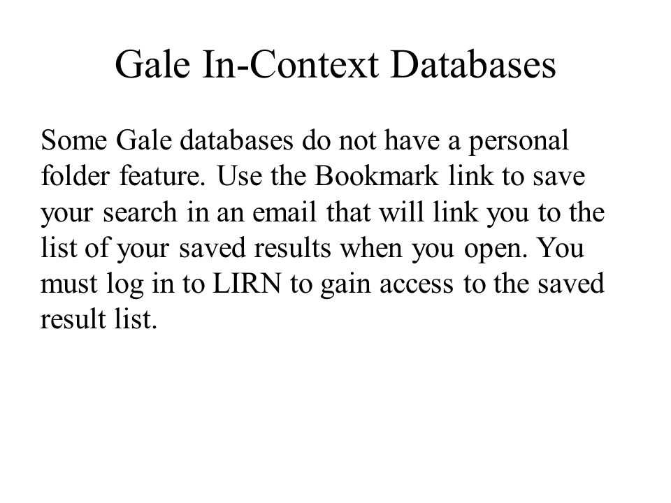 Gale In-Context Databases