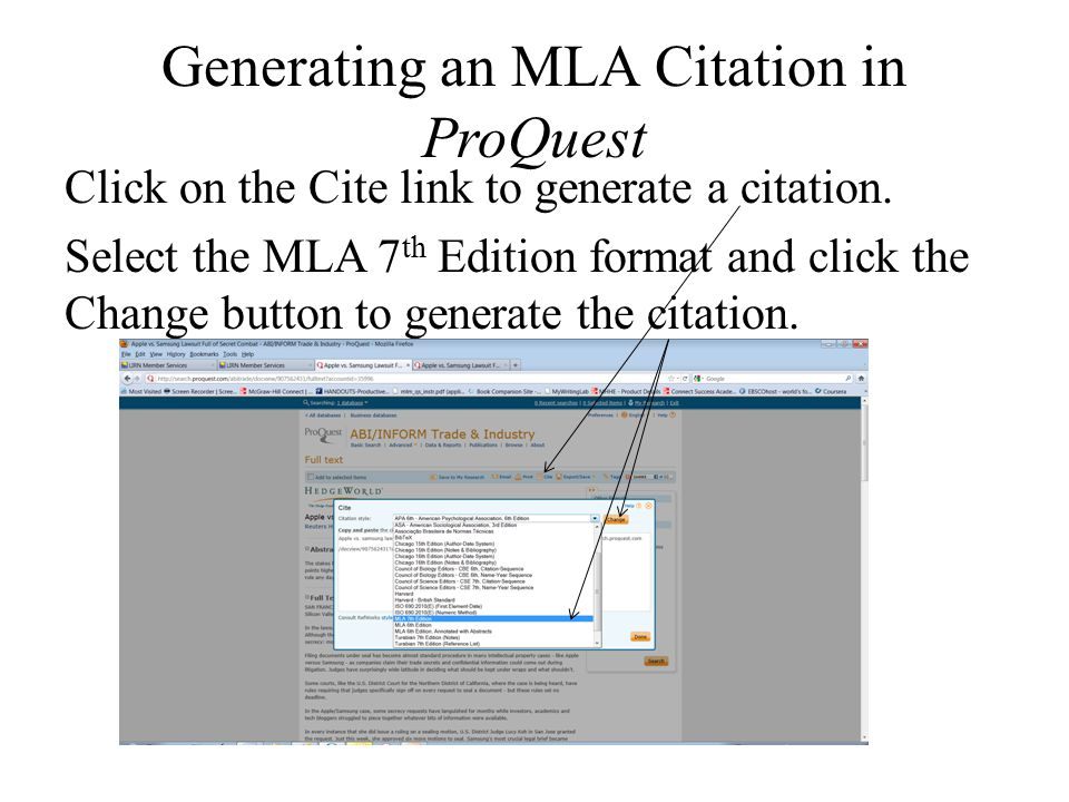 Generating an MLA Citation in ProQuest