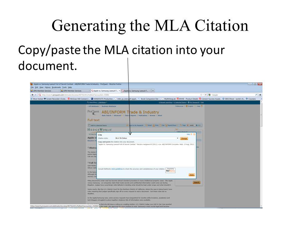 Generating the MLA Citation