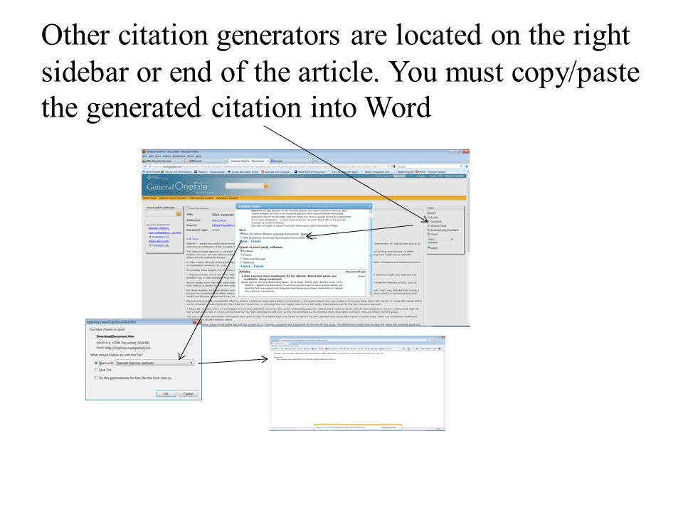 Other citation generators are located on the right sidebar or end of the article.