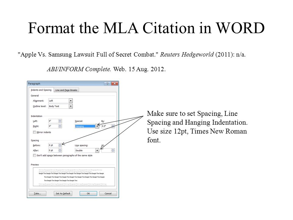 Format the MLA Citation in WORD