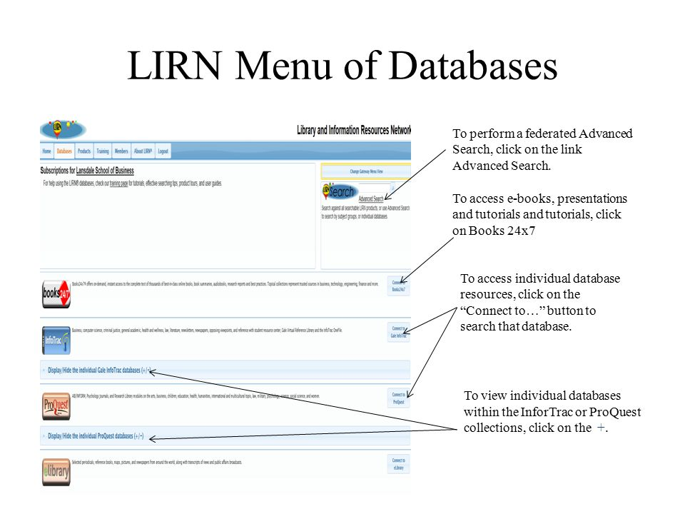 LIRN Menu of Databases To perform a federated Advanced Search, click on the link Advanced Search.