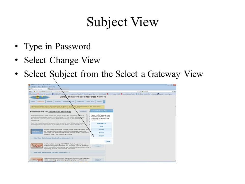 Subject View Type in Password Select Change View