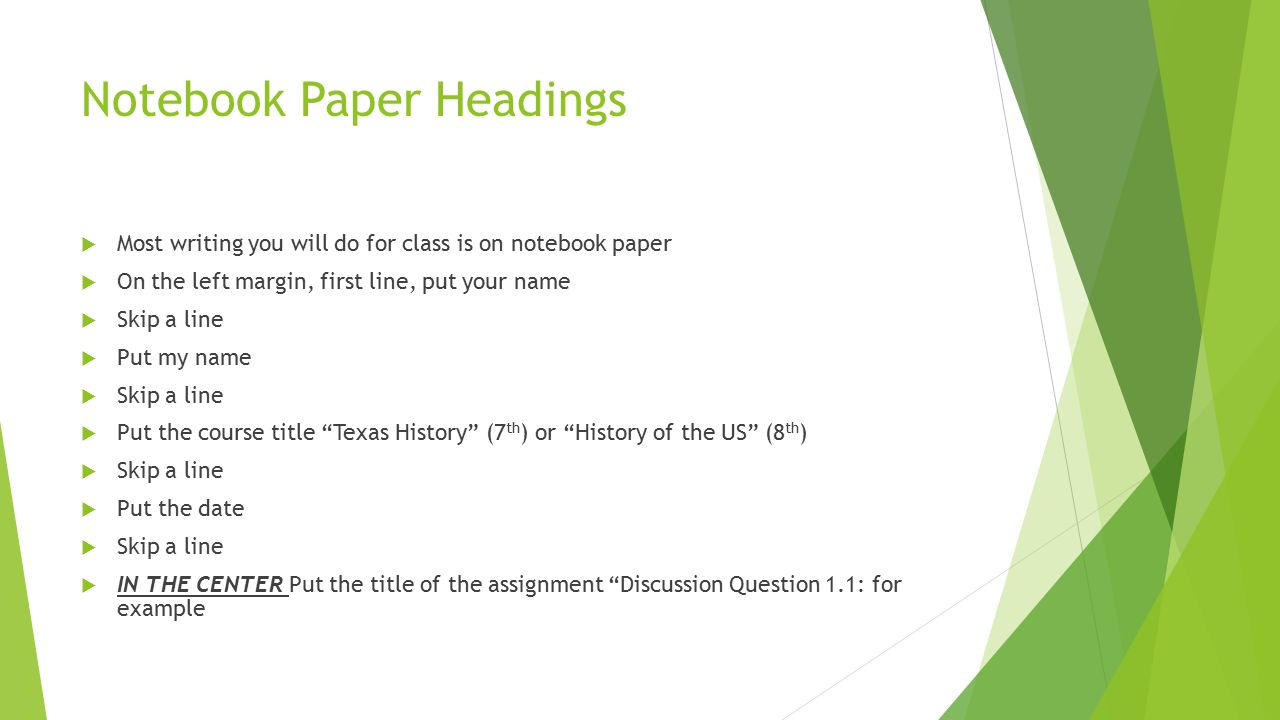 Notebook Paper Headings