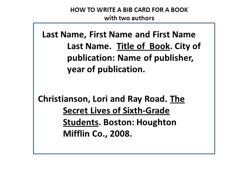 HOW TO WRITE A BIB CARD FOR A BOOK