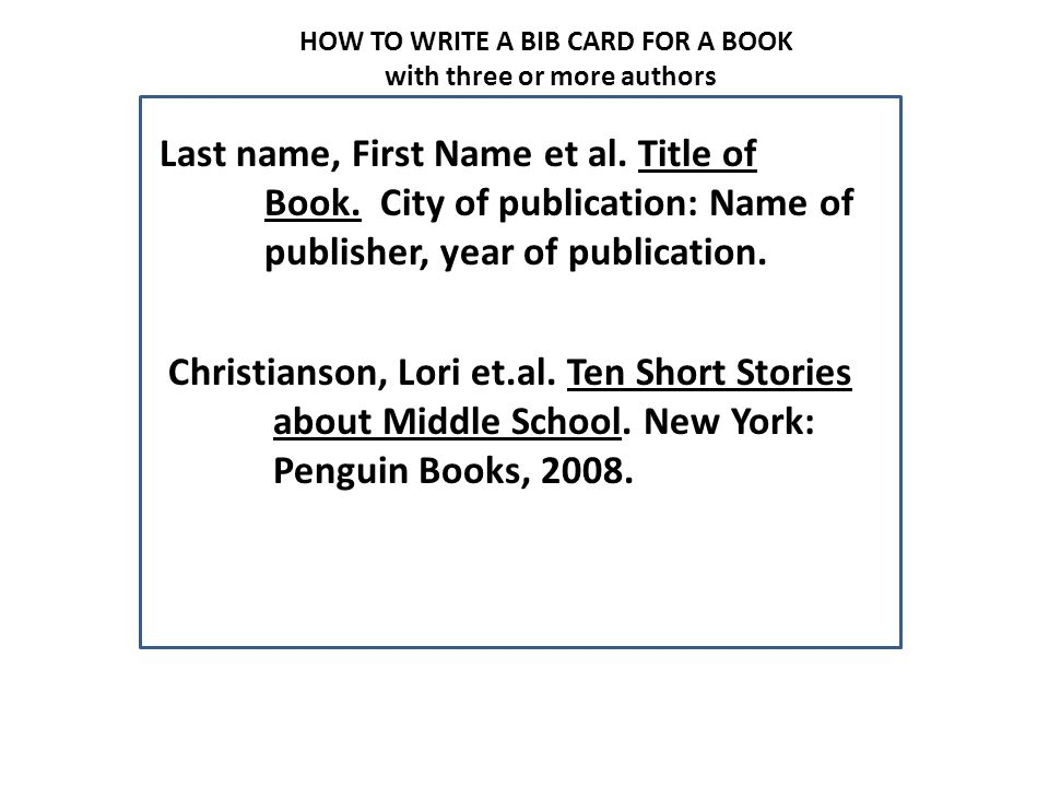 how to write a bibliography card for an article