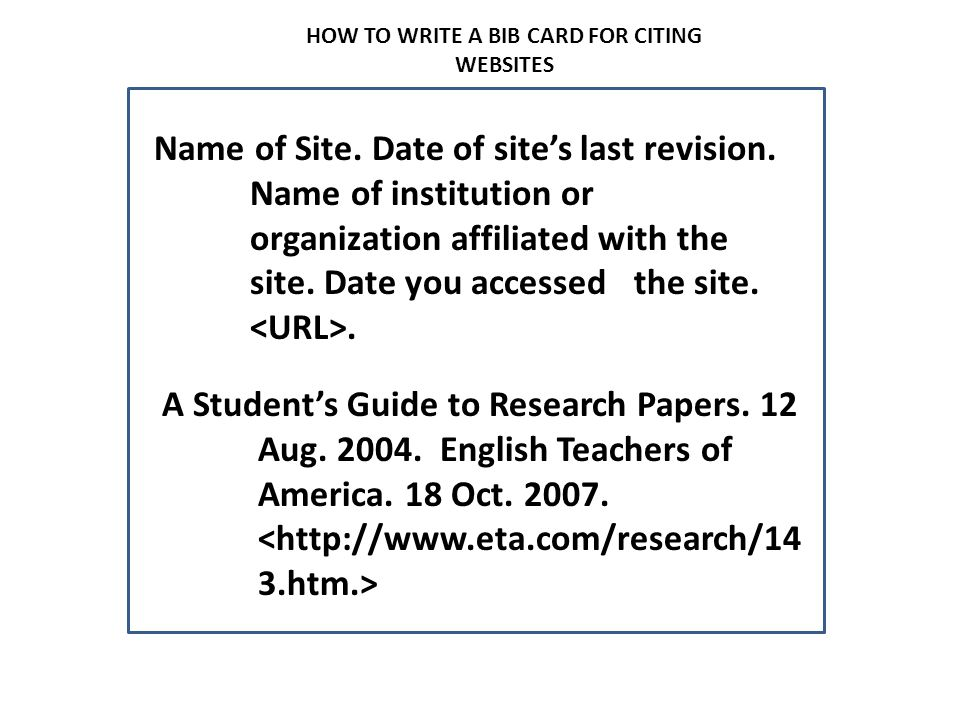 HOW TO WRITE A BIB CARD FOR CITING WEBSITES