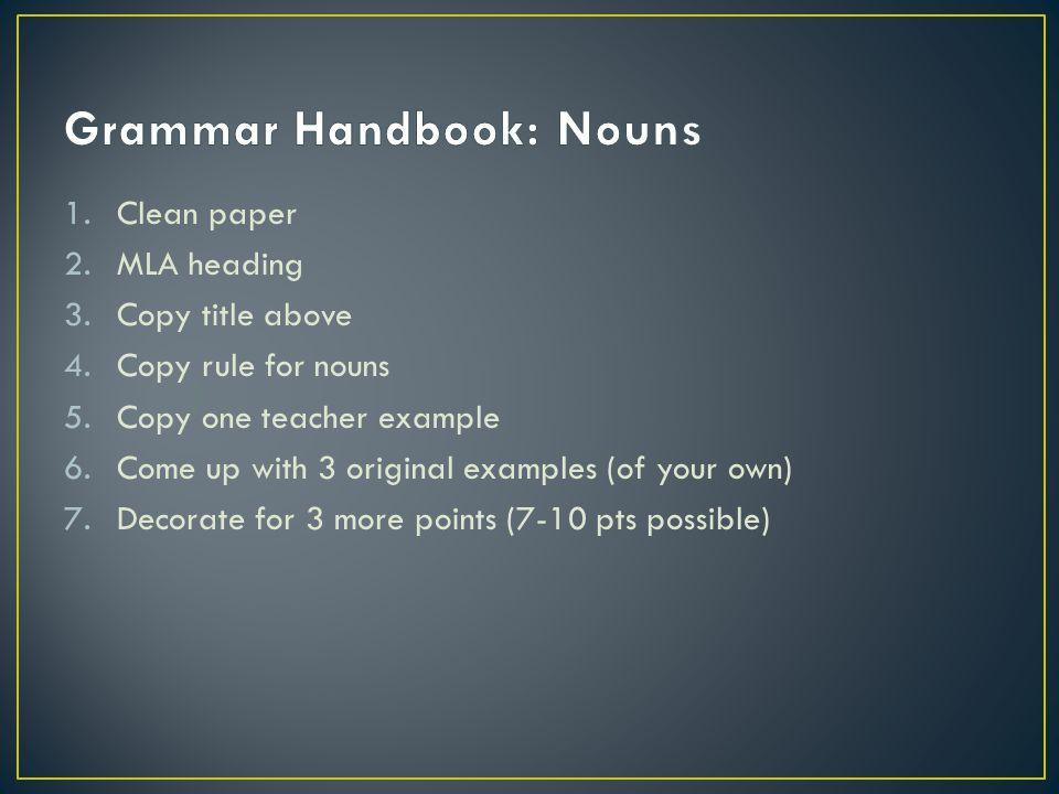 Grammar Handbook: Nouns