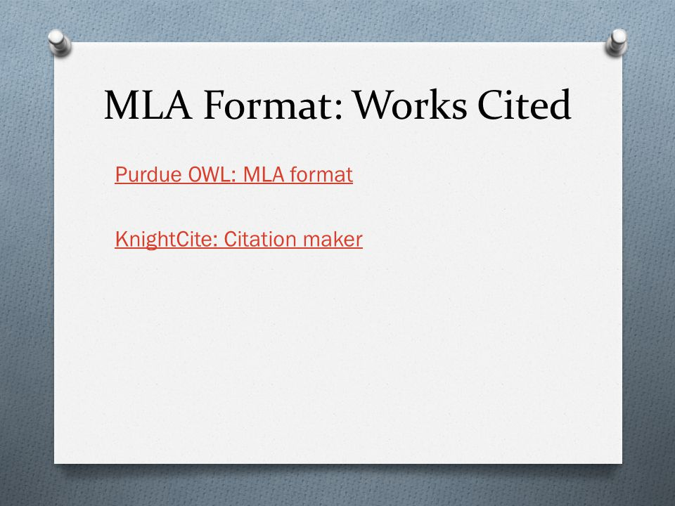 MLA Format: Works Cited