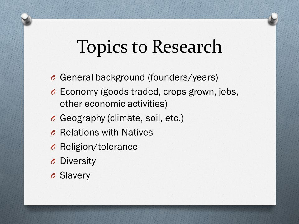 Topics to Research General background (founders/years)