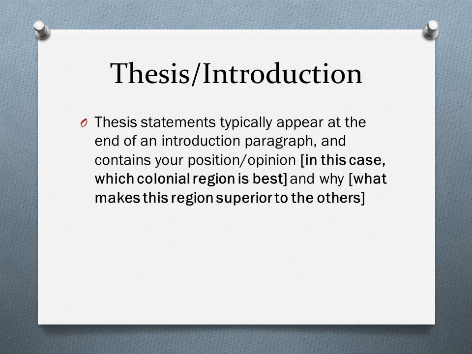 Thesis/Introduction