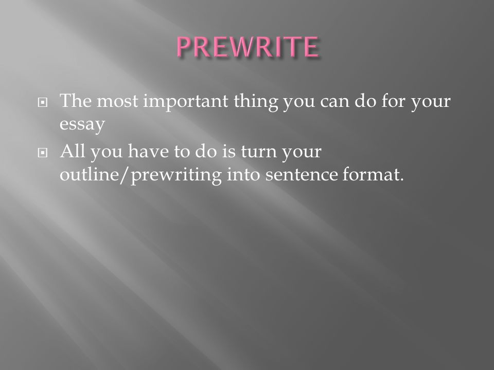 PREWRITE The most important thing you can do for your essay