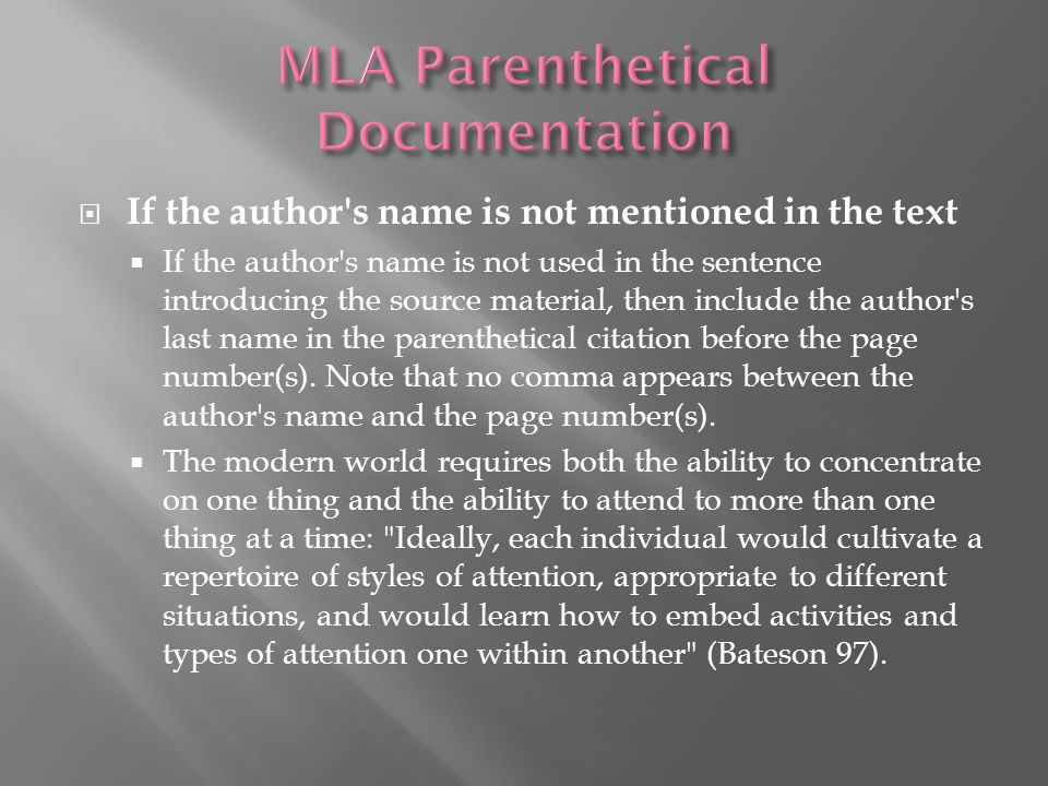 MLA Parenthetical Documentation