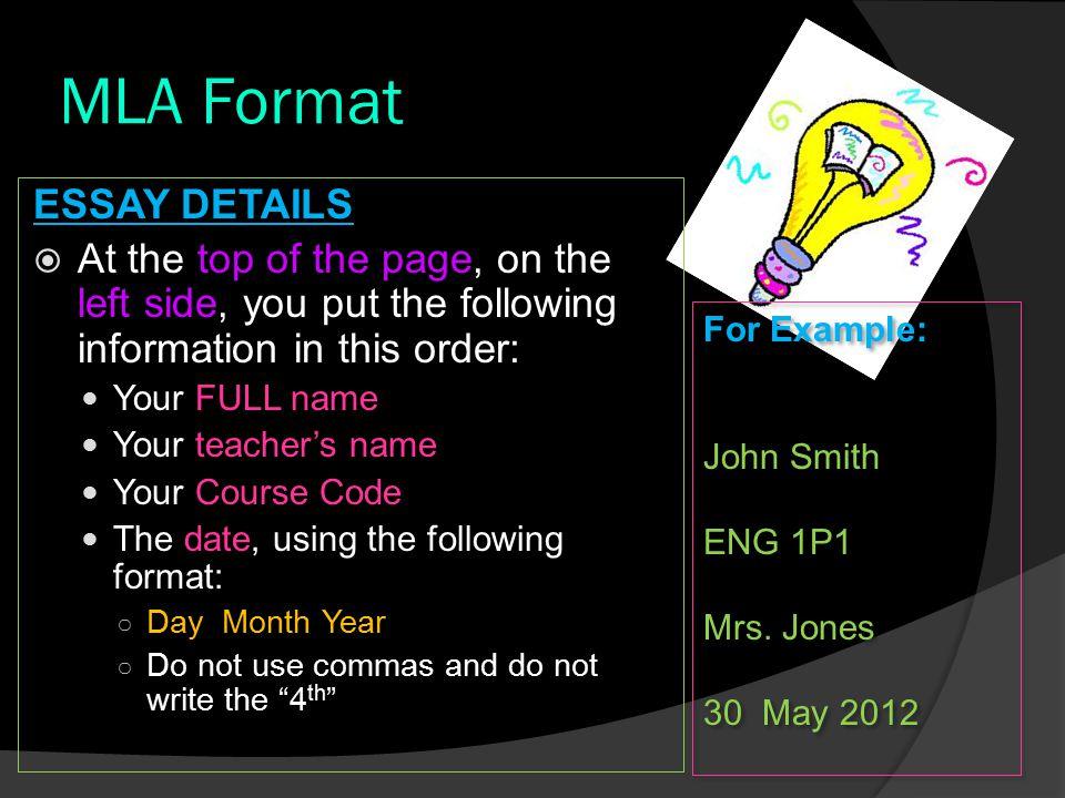 "put your name essay mla format Creating mla and apa headers in microsoft word type your last name "" followed by the paper's title in all caps."