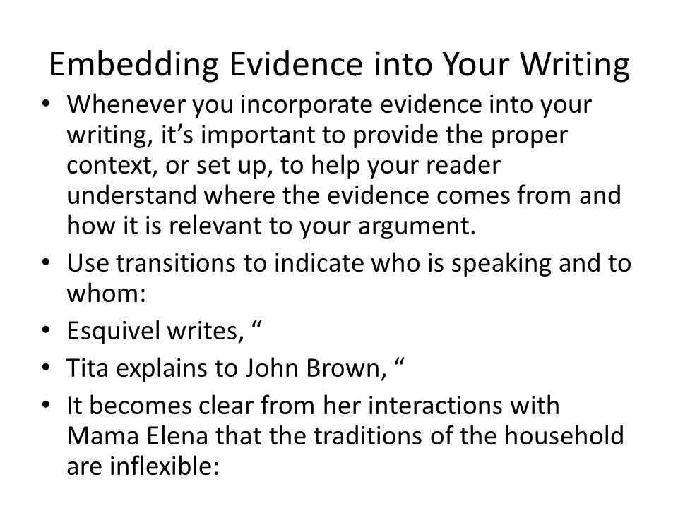 Embedding Evidence into Your Writing