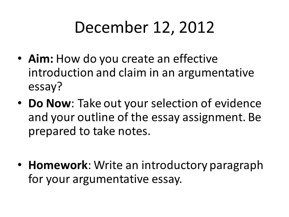 How to do an argument essay