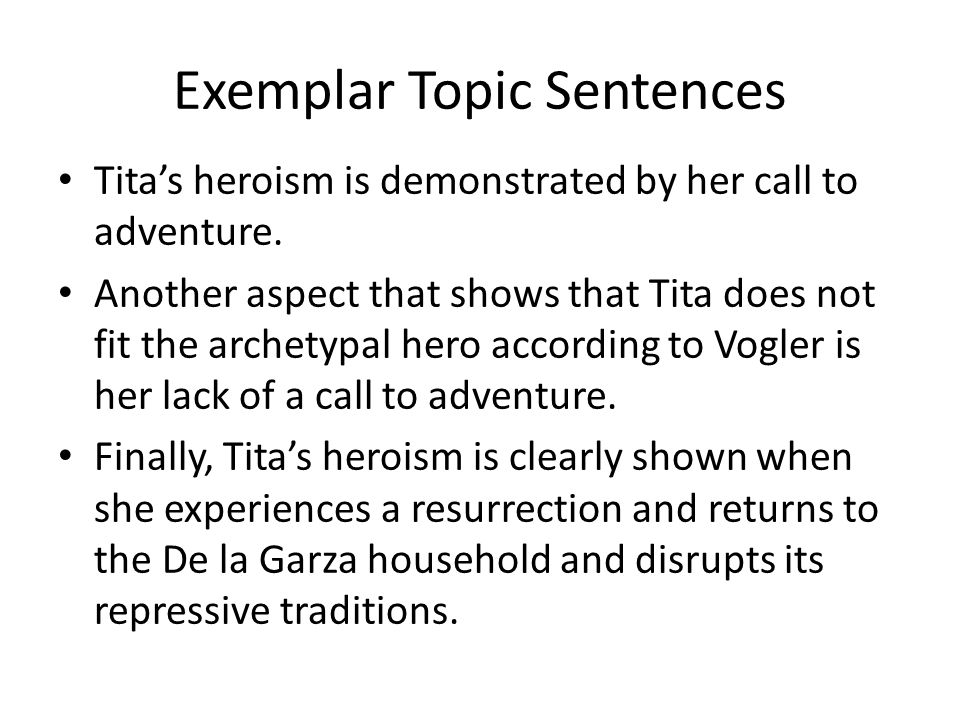Exemplar Topic Sentences