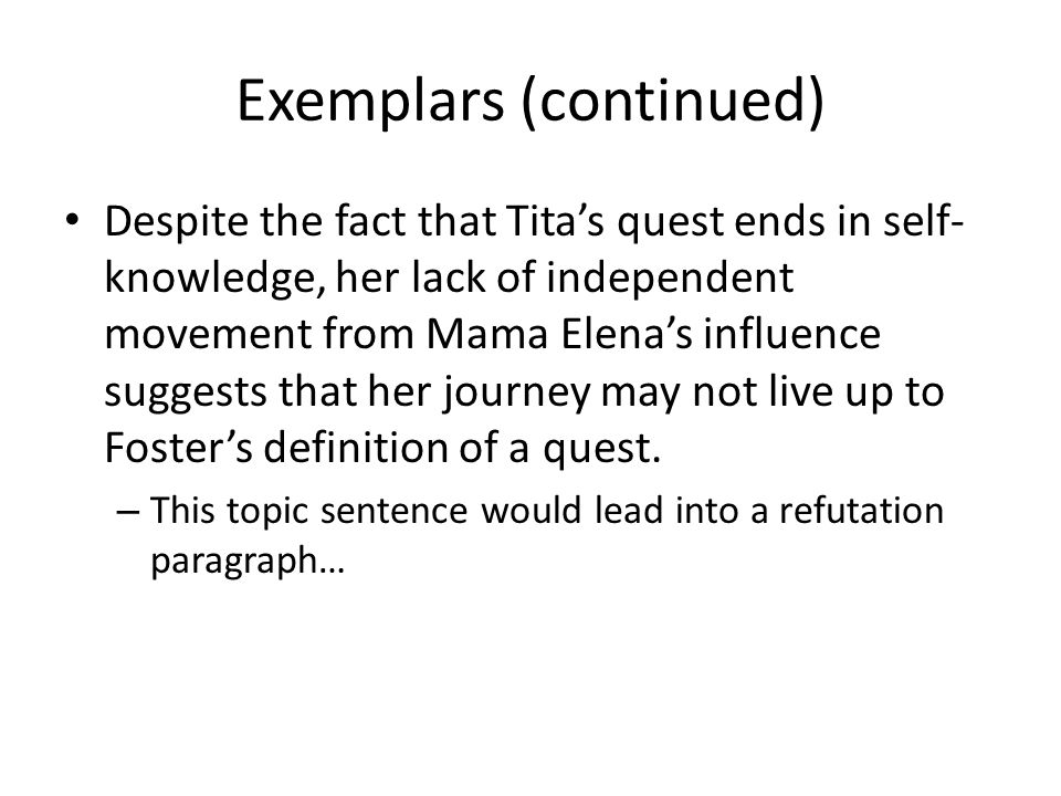 Exemplars (continued)
