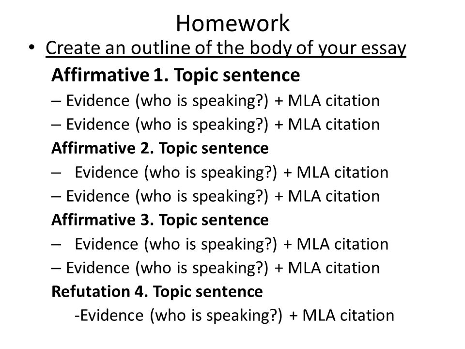 Homework Create an outline of the body of your essay