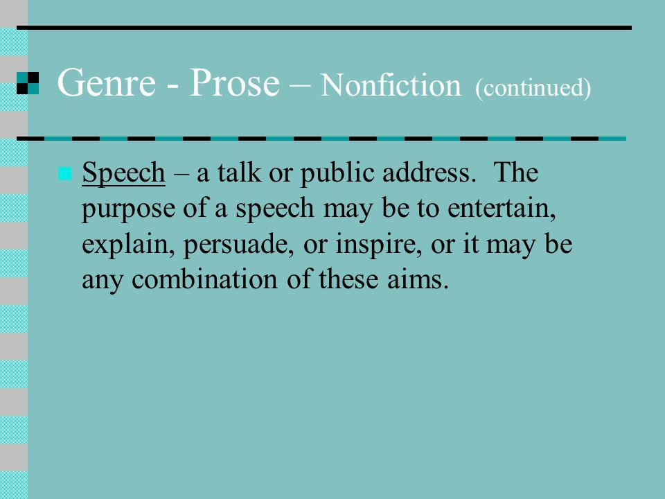 Genre - Prose – Nonfiction (continued)