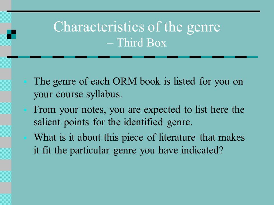 Characteristics of the genre – Third Box