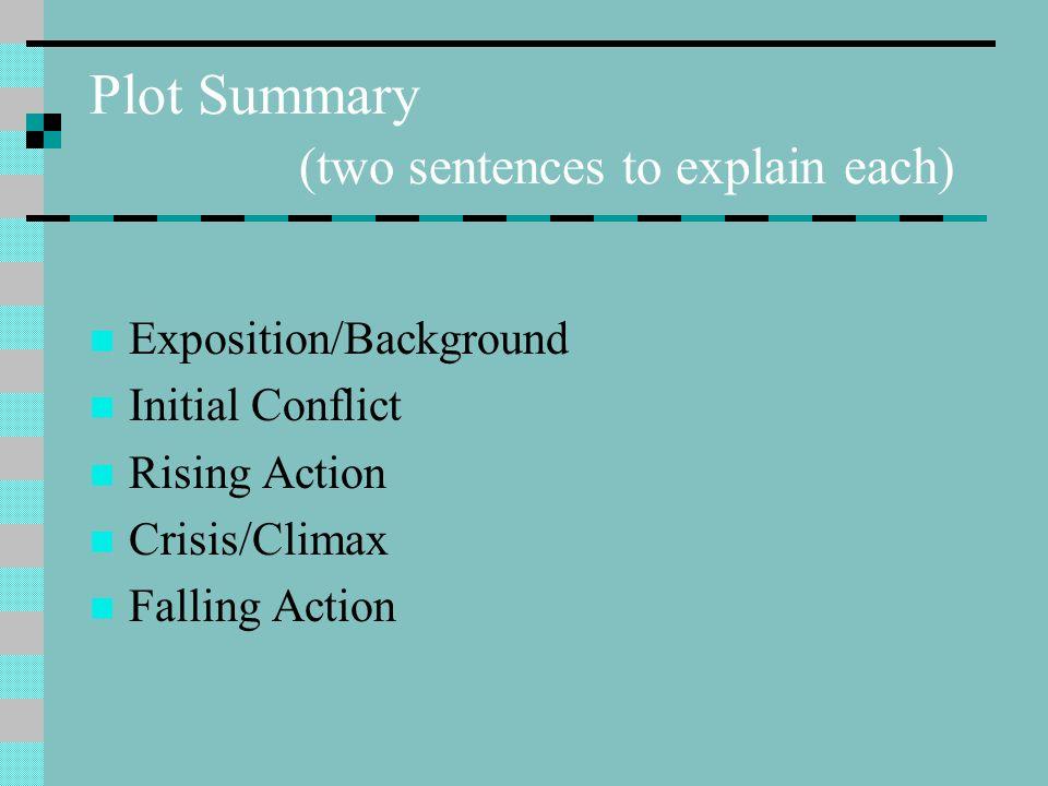 Plot Summary (two sentences to explain each)