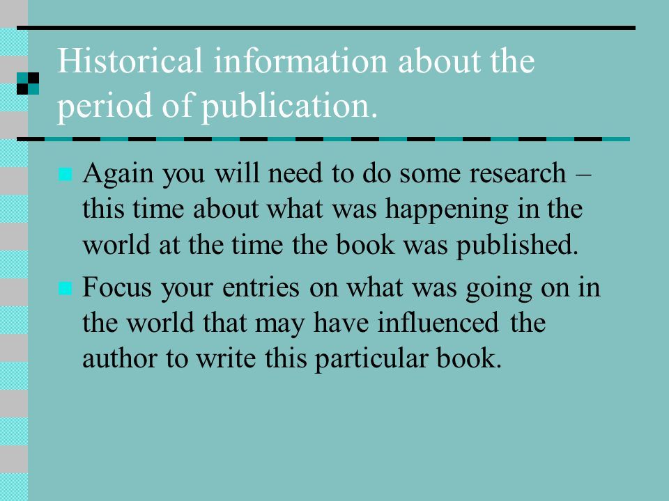 Historical information about the period of publication.