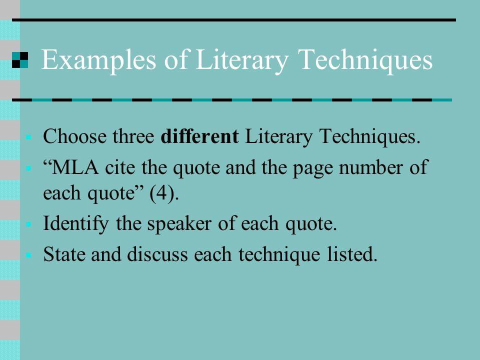 Examples of Literary Techniques