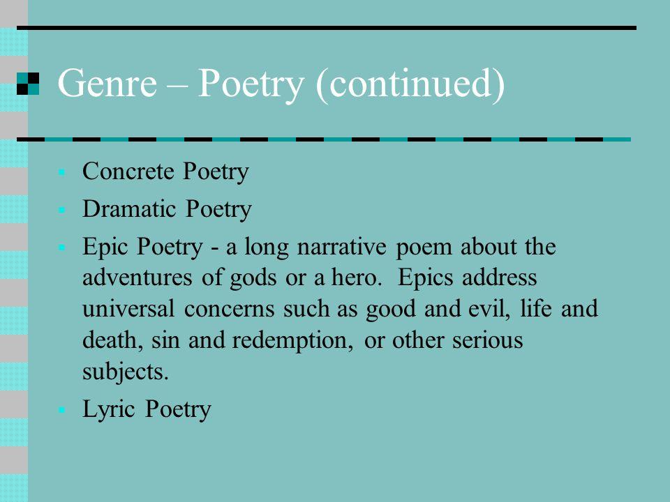 Genre – Poetry (continued)