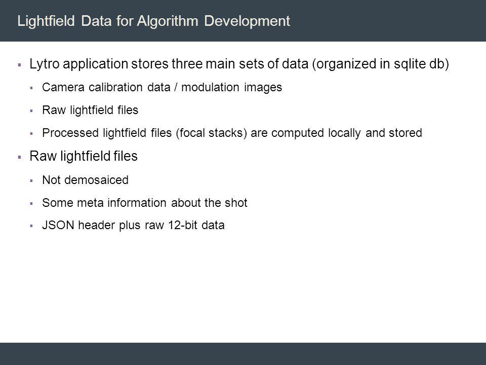 Lightfield Data for Algorithm Development
