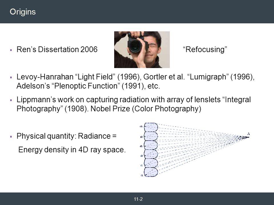 Origins Ren's Dissertation 2006 Refocusing
