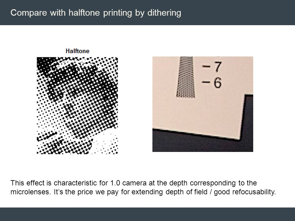 Compare with halftone printing by dithering