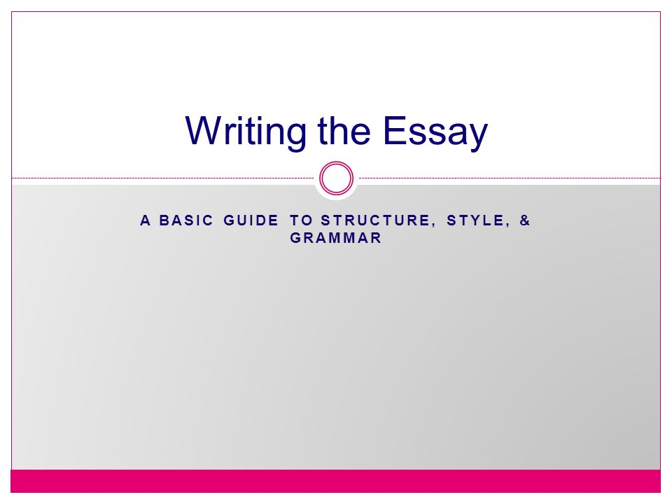 A Basic Guide to Structure, Style, & Grammar