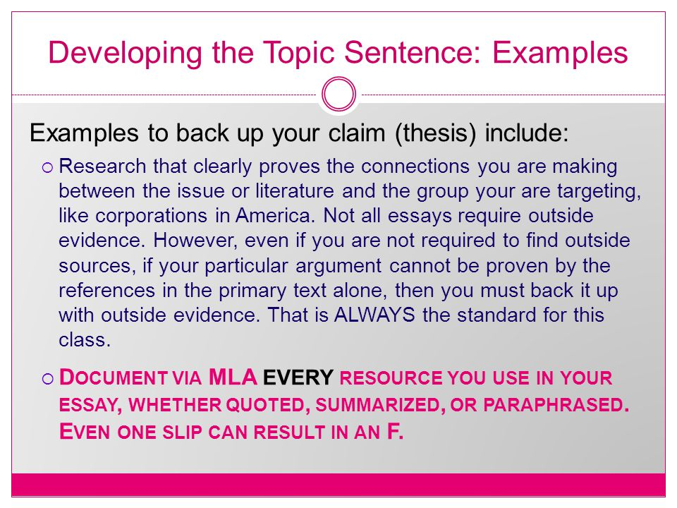 Developing the Topic Sentence: Examples