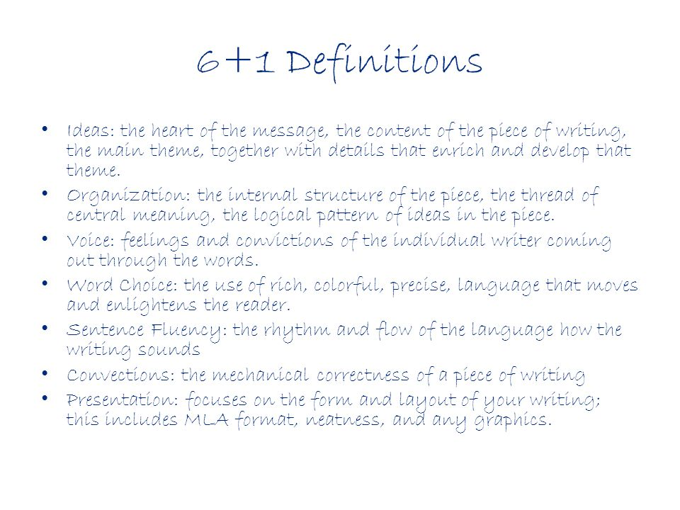 6+1 Definitions