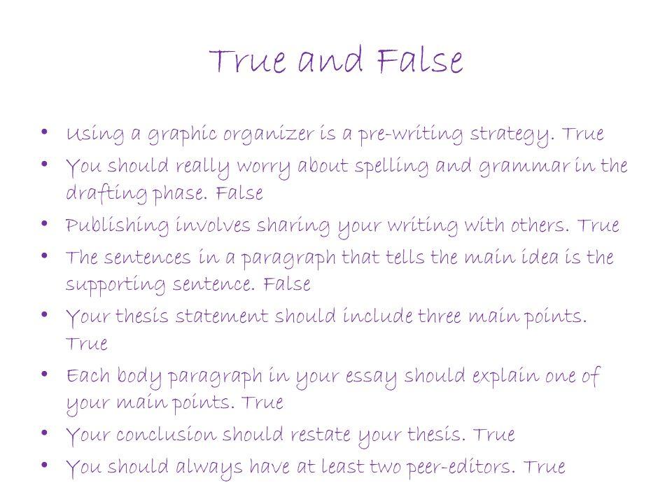 True and False Using a graphic organizer is a pre-writing strategy. True.