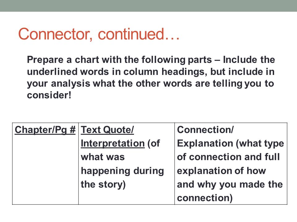 Connector, continued…