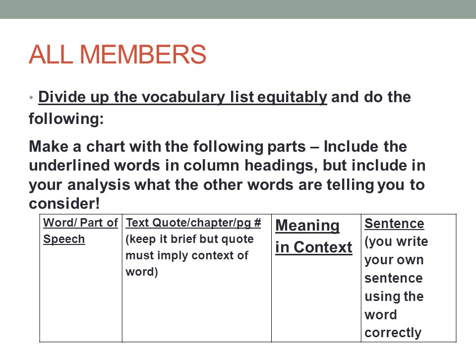 ALL MEMBERS Divide up the vocabulary list equitably and do the following: