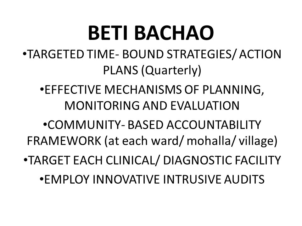 BETI BACHAO TARGETED TIME- BOUND STRATEGIES/ ACTION PLANS (Quarterly)