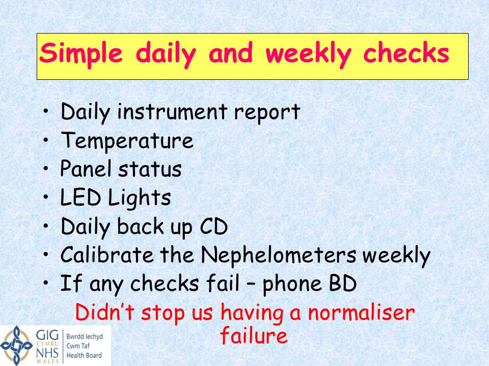 Simple daily and weekly checks