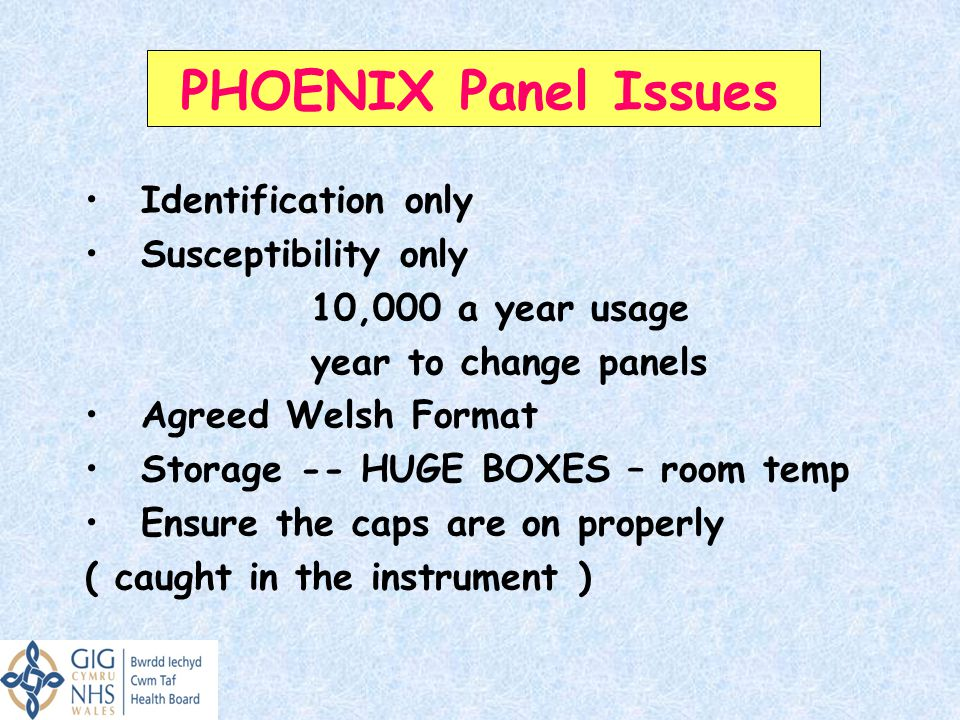 PHOENIX Panel Issues Identification only Susceptibility only
