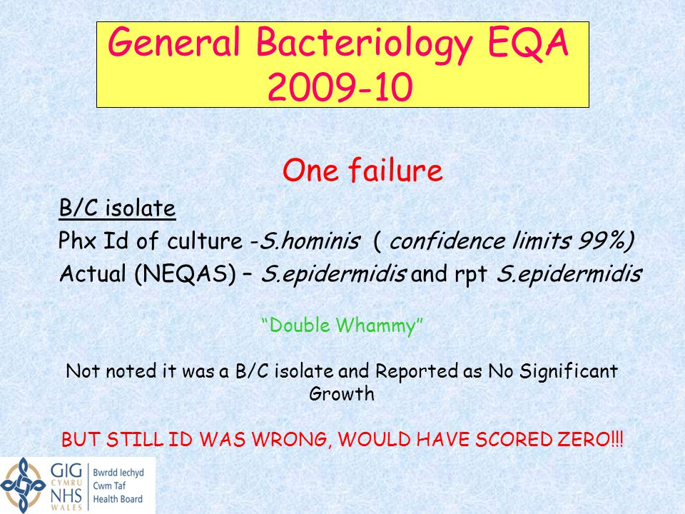 General Bacteriology EQA 2009-10
