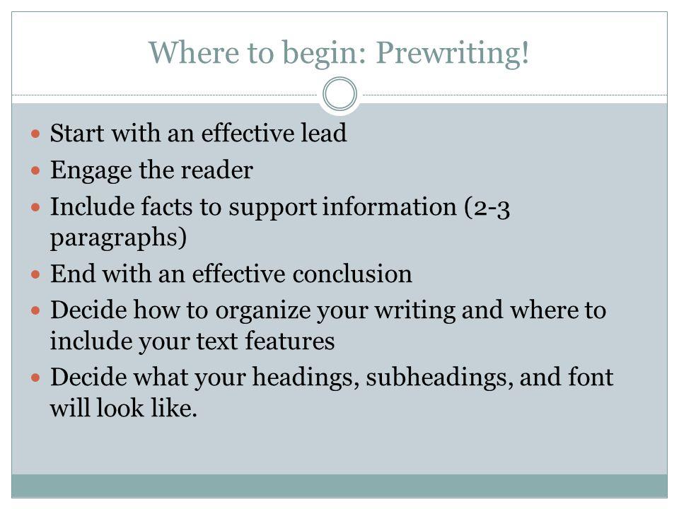 Where to begin: Prewriting!