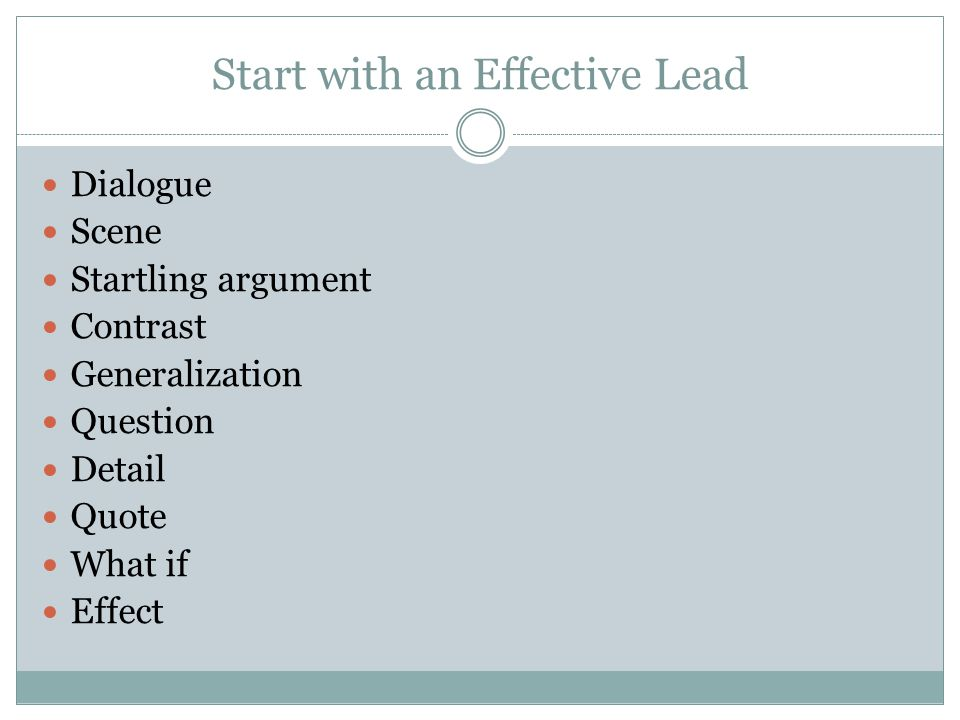 Start with an Effective Lead