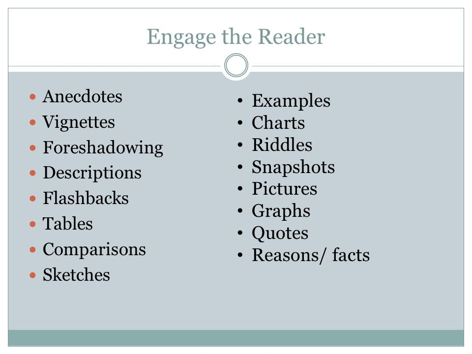 Engage the Reader Examples Charts Riddles Snapshots Pictures Graphs